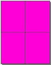 """Label Outfitters, Inc. 80 Label Outfitters Quarter Sheet 4.25"""" X 5.50"""" Fluorescent Pink Or Magenta Laser Only Labels 20 Sheets"""