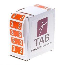 "Tab Compucolor Numeric Folder Label Roll 3 Dark Orange 1 2"" 500 Labels roll"