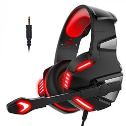 Hunterspider PS4 Headset PS4 Headphones PC Gaming Headset With LED Light  Stereo Gaming Headphones With MIC Noise Reduction Bass Headsets With Volume