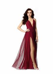 NIGHT Glamour Women's Elegant Prom Dresses Deep V-necklineback Tulle Sleeveless Long Party Prom Evening Formal Dress Wine Small