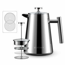 Shardor French Press Coffee Tea Maker Stainless Steel Press Pot 4 Level Filtration System Heat Preservation Vacuum Wall 34OZ 1000ML