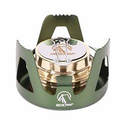 Redcamp MINI Alcohol Stove For Backpacking Lightweight Brass Spirit Burner With Aluminium Stand For Camping Hiking Green