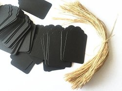 Sallan 100PCS Black Paper Gift Tags With Free 100 Root Natural Jute Twine Water Ripple