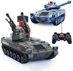 USA Aedwq Rc Remote Control Tank Armored Car Two Pieces 2.4GHZ Remote Control 1 24 Scale Model Virtual Life Lights Simulated Sound action Infrared Ba