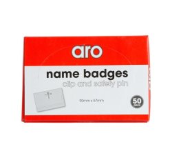 Aro 90 Mm X 57 Mm Name Badges With Clip 50-PACK