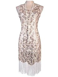 218d22f55efd Vijiv Small 1920s Gatsby Sequined Fringed Paisley Flapper Dress in Noble  White