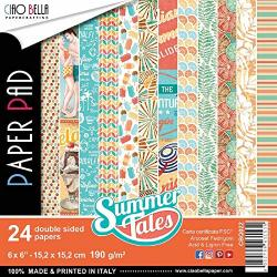 """Ciao Bella CBQ022 Summer Tales Double-sided Paper Pack 6""""X6"""" 24 PKG"""