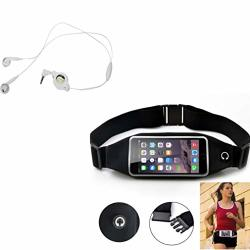 Black Sport Workout Belt Waist Bag Case W Retractable Headset Hands-free W MIC A3W Compatible With Blackberry Z30 Priv DTEK50 Le