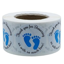 Hybsk 1.5 Inch Round Baby Shower Stickers Thank You For Showering Us With So Much Love Blue Foot Print Total 500 Labels Per Roll