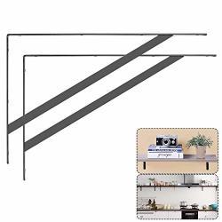 ACRUX7 Heavy Duty Shelf Brackets 15.7 X 9.8IN Floating Shelves Tripod Triangle Shelf Brackets 90 Degree Angle Wall Mounted Shelf Supporter Bracket Frame 2 Pack Black