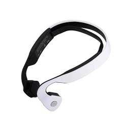 Powerrider Wireless Bone Conduction Headphones Bluetooth Earphone Sport Headset Built-in Microphone For Running Cycling Riding Driving And Jogging White