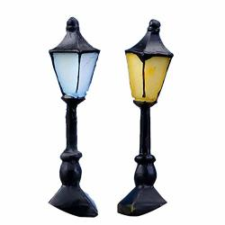 YaptheS 2 MINI Retro Street Lamp Cute Hand-painted Street Lamp Toy House Miniature Garden Decoration Fairy Garden Decoration Decoration Yellow + Blue Household Decoration
