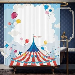 Wanranhome Custom Made Shower Curtain Funny Circus Decor Day Canvas Tents And Cloudy Summer Entertainment Festive Season