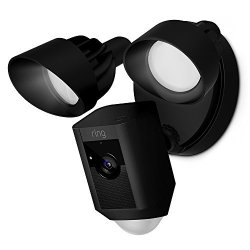 Ring Floodlight Camera Motion-activated HD Security Cam Two-way Talk And Siren Alarm Black