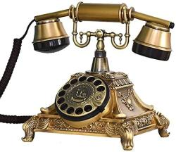 Retro Old-fashioned Turntable Telephone Wired Process Dialing Machine One-button Replay Hands-free No Ac Power For Office Home Living Room Copper Col
