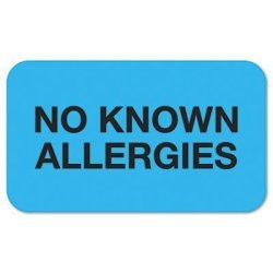 "TABBIES 'no Known Allergies"" Medical Labels 7 8 X 1-1 2 Light Blue 250 ROLL By"