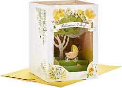 USA Hallmark Paper Wonder Displayable Pop Up Baby Shower Card Family Tree