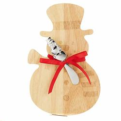 Relive Wooden Snowman Shaped Cutting Board With Spreader 10.5