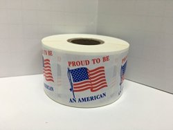 Labels And More 500 Labels 1.5X1.5 Proud To Be An American Laminated American Pride Flag Mailing Retail Stickers
