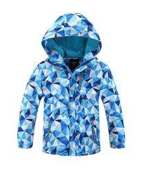 Hiheart Girls Boys Waterproof Fleece Lined Jacket Hood Windproof Rain Coat Blue 5 6