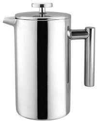 Bruntmor Kobia 34OZ Double Wall 18 8 Steel French Coffee Press With Non Drip Spout & Double Filter