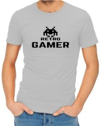 Retro Gamer Mens Grey T-Shirt XS
