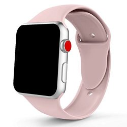 Cartee Soft Silicone Sport Strap Replacement Band Compatible With Apple Watch Band Series 4 40MM 44MM Series 3 2 1 38MM 42MM Pin