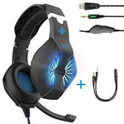 EWarehouse Gaming HEADSET-3.5MM Jack & USB Wired Over Ear Headphone With MIC And Stunning LED Light For PC PS4 Xbox Tablet Smart