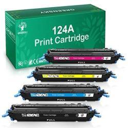 GREENSKY Compatible Toner Cartridge Replacement For Hp 124A Q6000A Q6001A Q6002A Q6003A Color Laserjet 1600 2600N 2605DN 2605DTN 1015 1017 Mfp Black Cyan Yellow