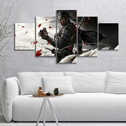 HOPE003 Canvas Painting 5 Framed 5PCS Rpg Game Ghost Of Tsushima Katana Samurai Ronin Poster Artwork Canvas Painting Wall Art Fo