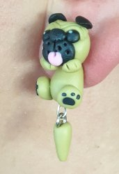 Handmade Clay Earrings - Pugs