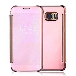 Tenworld Samsung Galaxy S7 Edge Case Cover Clear View Mirror Flip Case Cover