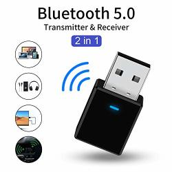 Bluetooth Jsoerpay 5.0 Transmitter Receiver 2-IN-1 Audio Transmitter For Tv PC Car home Stereo System Wireless Aux Adapter 3.5MM
