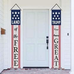 Avoin Donald Trump Decoration Patriotic Porch Sign Land Of The Free Keep America Great 2020 President Election Hanging Banner Flag For Yard Indoor Outdoor