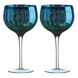 Drh Set Of 2 Peacock Balloon Copa Gin Cocktail Glass Glasses 23.6 Floz