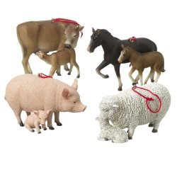 SET OF 4 Farm Animals With Babies Cow Horse Sheep Pig Resin Stone Christmas Tree Ornaments