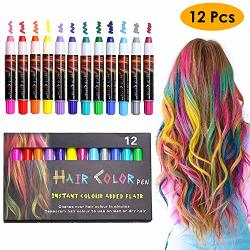 EZCO 12 Color Temporary Hair Chalk Pens Crayon Salon Washable Hair Color Dye Face Kit Safe For Makeup Birthday Party Christmas Gift For Girls