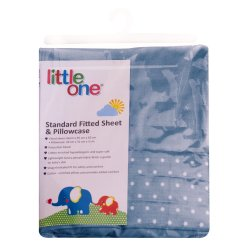 LITTLE ONE - Standard Fitted Sheet And Pillowcase Blue