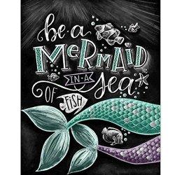 "TWBB Diy 5D Diamond Painting Kit Diamond Sticker Stitch Painting Sets Mermaid Pattern Full Drill Diamond Painting Blackboard Newspaper Style 10""X12"" 25CM X 30CM"