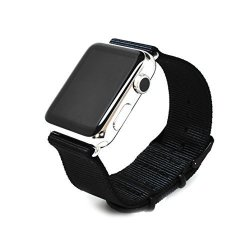 Nato Skull 42MM Apple Watch Band Strap In Black Ballistic Nylon With Pvd Metal Clasp Connector Included