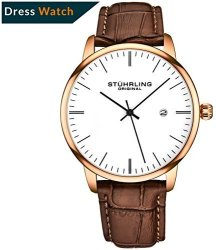Deals On Stuhrling Original Mens Watch Calfskin Leather Strap