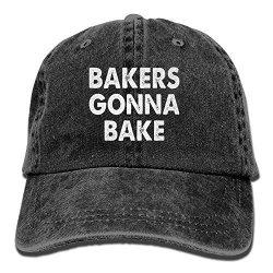Bakers Zhangyin Gonna Bake Adjustable Washed Cap Cowboy Baseball Hat Black