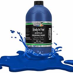 Pouring Masters Royal Blue Metallic Pearl Acrylic Ready To Pour Pouring Paint - Premium 32-OUNCE Pre-mixed Water-based - For Canvas Wood Paper Crafts Tile