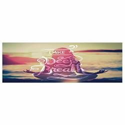 """HongKong Fudan Investment Co., Limited 70.8""""X23.6"""" Removable Wall Mural Stickers Yoga Woman On Tranquil Summer Beach Meditating Peaceful Calm Sunset Motivation Phrase Multicolor Home Decor Prints Painting Artwork"""