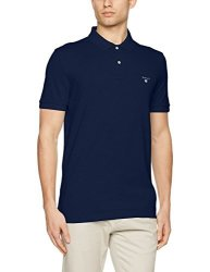 Gant Men's Classic Short-sleeve Piqu Polo Evening Blue M