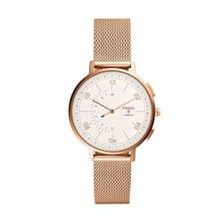 Fossil Women's Hybrid Smartwatch Analog-quartz Watch With Stainless-steel-plated Strap Rose Gold 16 Model: FTW5028