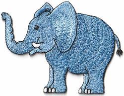 Blue Elephant Wildlife Animal Kids Embroidered Applique Iron-on S-1664