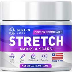 Genius Cure Stretch Marks & Scars Defense Cream Daily Moisturizer W Organic Shea Butter + Plant Oils + Vitamins To Prevent Reduce And Fade Away Old O