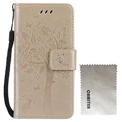 Camiter Gold Tree And Cat Design Folio Leather Stand Protective Skin Cover Case For Huawei Mate S Build In Stand Function card