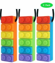 Sensory Chew Necklace Pendant Chewlery Set For Boys And Girls 3 Pack Orange-green- Blue